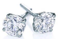 Round Brilliant 14K White Gold Men's Natural Diamond Stud Earrings 1.08CT