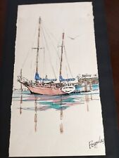 Original Watercolor Painting By Richard Bagguley Classic Schooner
