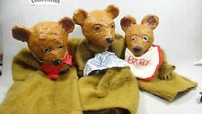 Vintage 3 puppets bear family baby bear and parents hand made rare puppets  #L09