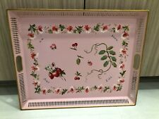Vintage Hand Painted French Pink Gold Rectangle Tole Tray