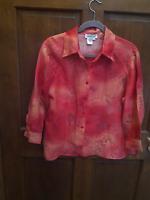 COLDWATER CREEK Blouse Shirt Orange Floral Burnout 3/4 Sleeve Button Up Ombre  M