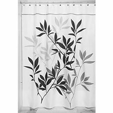 "New InterDesign 35624 Leaves Fabric Shower Curtain - Long, 72"" x 84"", Black/Gray"