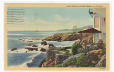 Arch Beach Laguna Beach California 1940 postcard