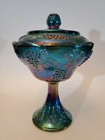Indiana Blue Carnival Glass Harvest Grape Pedestal Compote Bowl Dish w/Lid Candy