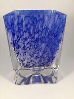 Handblown Cobalt Blue Vase Art Glass Has Heavy Clear Bottom Beautiful EUC