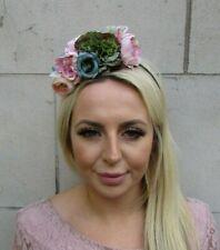 Nude Dusky Pink Blush Pink Green Flower Floral Fascinator Headband Hairband 0683