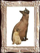 Tonkinese Cats Dollhouse Picture - Framed Miniature Art - Made In America
