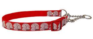 "red 101 Dalmatian puppy half check choke martingale medium large dog collar 1"""