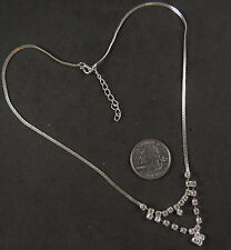 NWOT Clear Crystal Rhinestones on Silver color Cup Chain Necklace, 16 inches