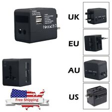 US to EU Europe and Universal AC Power Plug USB World Travel Adapter Converter