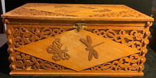 Vintage Wooden Carved Butterfly/Dragonfly Decorative Box (SH19)