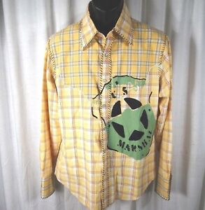 Raw 7 Mens Western Shirt Medium Yellow Plaid Pearl Snap Buttons Painted Design