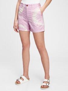 "New Old Navy Women's Size 16 Purple Tie Dye High Rise Utility 5"" Khaki Shorts"