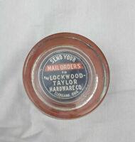 Vintage Glass Advertising Paper Weight LockWood Taylor Hardware CO Cleveland Oho
