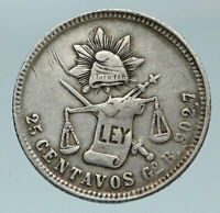 1885 GoR MEXICO Eagle and Cap Antique OLD Mexican Silver 25 Centavos Coin i84634