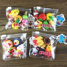 Child School Supplies Cake Hamburger Eraser Eraser Set Food Drink Fruit Rubber