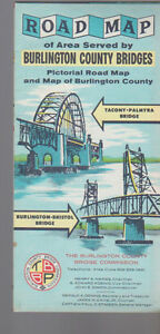Road Map of Area Served by Burlington County Bridges 1967 New Jersey