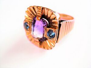Ring Rose Gold 585 With Amethyst And Sapphires