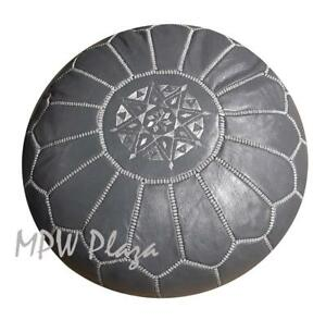 MPW Plaza Pouf, Dark Grey, Moroccan Leather Ottoman (Stuffed)