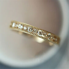 Exquisite White Sapphire Thin Eternity Ring Gold Promise Wedding Jewelry Sz 5-11