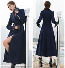 Winter Womens Navy Full Length Wool Blend Jacket Trench Parka Military Long Coat