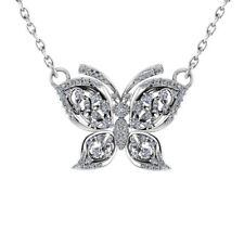 """Sterling Silver Cubic Zirconia Butterfly Necklace with 18"""" Singapore Necklace"""