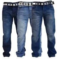 NEW MENS CROSSHATCH STRAIGHT LEG DARK BLUE JEANS ALL WAIST SIZES 5 COLOURS BNWT