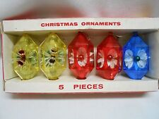 5 vintage Jewelbrite USA plastic christmas tree ornaments bells mercury ornie