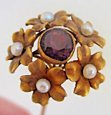 Gorgeous Antique 14K Yellow Gold Amethyst Pearl Flower Hat Pin 5 3/8""