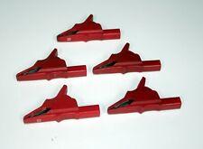 RPM/Fluke/Other Alligator, Heavy Duty, Banana, Female Test Clamps, Red. Set of 5