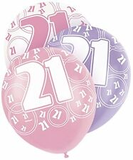 """B'Day Numbered Balloons Birthday Latex 12"""" 6pcs Pink/White/Purple Party Decor"""