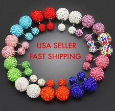 12X Bling Double Ball Side Two Stud Shamballa Earrings Rhinestone Crystal Bulk