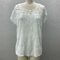 Siren Rily Lace Knit Top Blouse Women's M White Layered Embroidered Short Sleeve