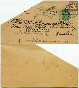 USA 1898 HELD COLUMBUS MACHINE PMK + FORWARDED + 3pf in BAVARIA GERMANY PART ENV