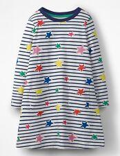 NWT Mini Boden Stripy Jersey Multi Color Stars Dress  Girls sz 8 9  yrs Tween