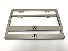 """(2) STAINLESS STEEL CHROME Polished Metal License Plate Frame - MB """"LOGO""""C2"""