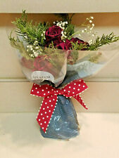 Twelve Real Air Dried Roses Flowers Red Rustic Bouquet w/ Greenery New)