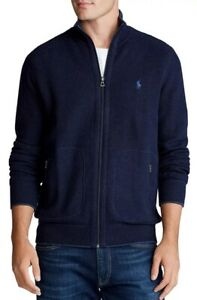 $145 New POLO RALPH LAUREN Large Black FULL-ZIP MOCK NECK Sweater TRACK JACKET