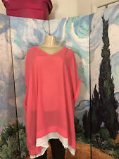 WOMAN WITHIN 3X NEW PINK V-NECK ZIP SIDES SHEER OVERSIZE DOLMAN SLEEVE TUNIC TOP