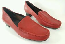 M & S Footglove red leather mid heel mocassin shoes uk 5.5