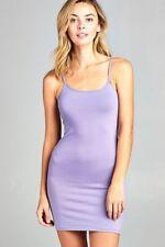 Women's Cami Mini Dress Long Tunic Stretch Tank Top Longline T Shirt Bodycon US