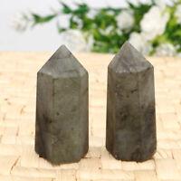 2pcs Natural Labradorite Quartz Obelisk Crystal Column Wand Point Healing