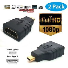 2Pcs Micro HDMI (Type D) Male to HDMI (Type A) Female Converter Adapter For HDTV