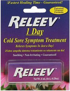 RELEEV 1 Day Cold Sore Treatment 6 mL Exp 11-30-2022 Benzakonium Chloride
