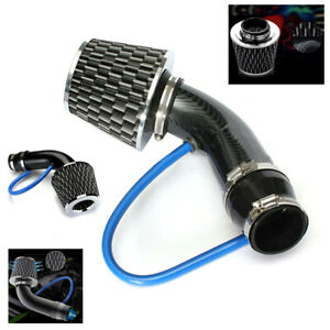 """Carbon Fiber 3"""" Car Cold Air Intake Filter Induction Pipe Power Flow Hose System"""