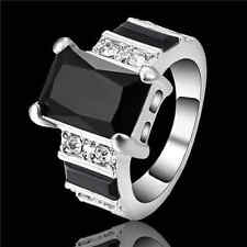Size 9 Black Sapphire Wedding Band Ring white Rhodium Plated Party Jewelry