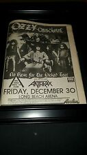 Ozzy Osbourne Anthrax Long Beach Arena Rare Original Promo Poster Ad Framed!