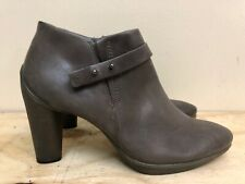 Ecco Women Brown  taupe Leather High Heel Ankle Boots Bootie Size EUR 36 US 5-5