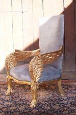 Imposant fauteuil anges bois massif doré à la feuille d'or d'un château