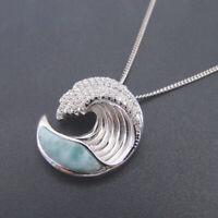 Hot Sale 925 Sterling Silver Natural Larimar Gemstones Wave Necklace Pendant